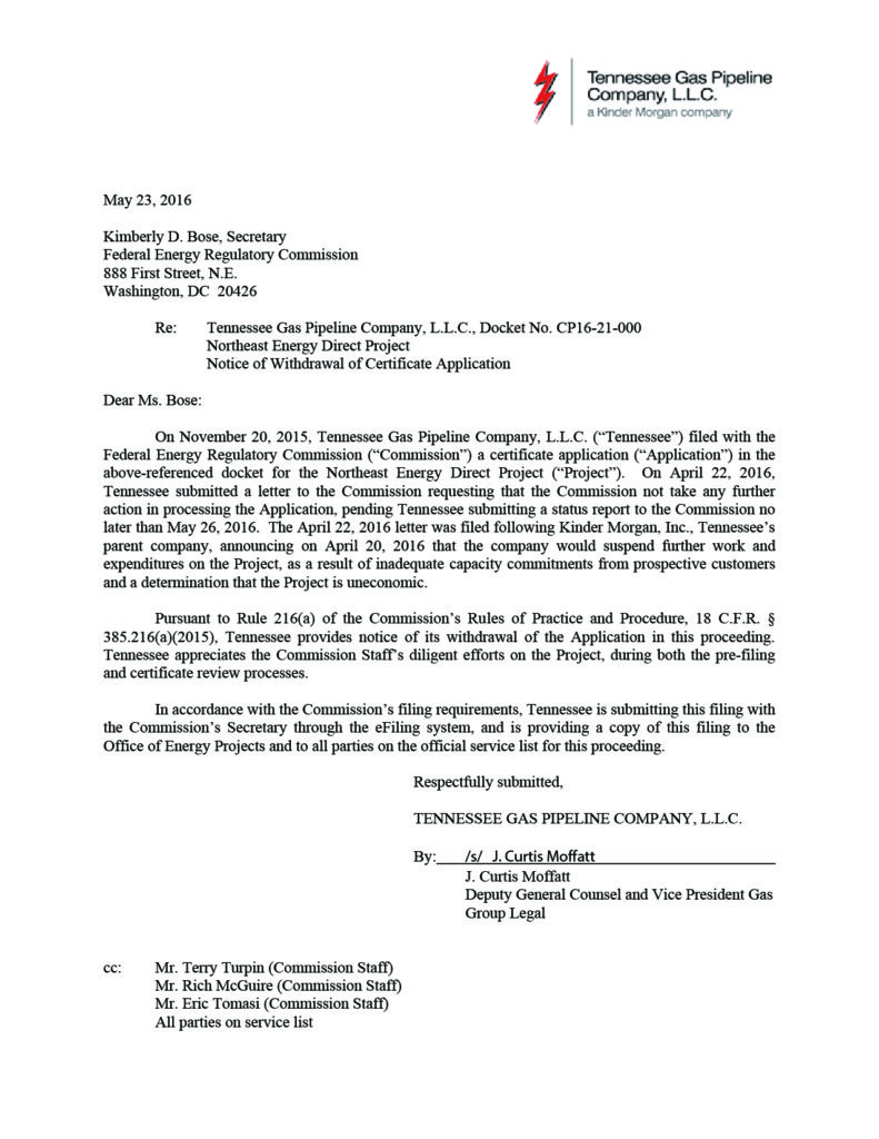 Kinder Morgan NED Application Withdrawl
