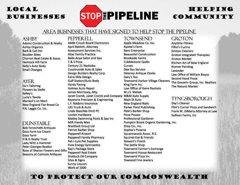 Area Businesses Sign to Stop the Pipeline